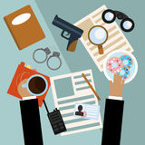 Tischplattendetektiv - Draufsicht in der flachen Designart Stockfotografie
