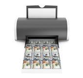 Tischplattenhauptdrucker Printed Money Wiedergabe 3d Stockfoto