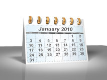 Tischplattenkalender (3D). Januar 2010. lizenzfreie stockfotografie