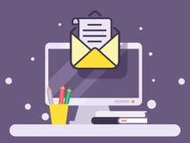 Tischrechner mit Umschlag- und Papierdokument auf Schirm, E-Mail-Marketing-Fahnenvektorillustration Internet lizenzfreie abbildung