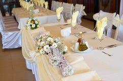 Tischschmuck für festliche Feier Stockfotografie