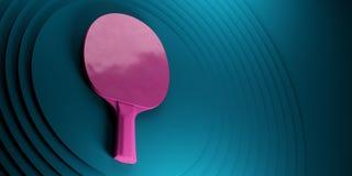 Tischtennis oder Klingeln pong Schläger Turnierplakatdesign auf abstrakter Farbkreise backgroung 3d Illustration stock abbildung