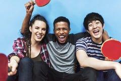 Tischtennis Ping-Pong Friends Sport Concept Lizenzfreie Stockfotografie