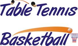 Tischtennis- und Basketballtext stockfotografie