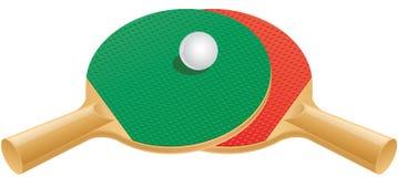 Tischtennispaddel und -kugel Stockfotos