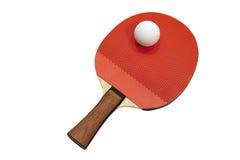 Tischtennisschläger mit einem Ball Stockbild