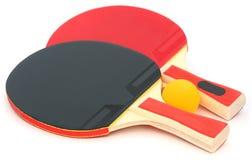 Tischtennisschläger und -ball Stockfotografie
