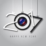Happy New Year, 2017. Black and white colors, lens optics Happy new year illustration Royalty Free Stock Images