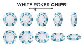 Tisonnier blanc Chips Vector positionnement 3D Tisonnier rond en plastique Chips Sign On White Flip Different Angles Gros lot illustration libre de droits