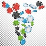 Tisonnier Chips Rain Vector Casino Chips Falling Down Fond transparent Illustration de gain de prix en argent Images libres de droits