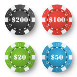 Tisonnier classique Chips Vector Jeu de poker coloré Chips On White Background Illustration Photos stock