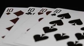 Tisonnier de casino de dix jouant des cartes Photos stock