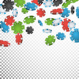 Tisonnier de jeu Chips Rain Vector Casino réaliste Chips Explosion Falling Down Fond transparent Richesse de symbole Image libre de droits