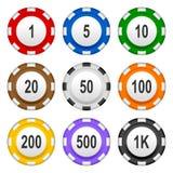 Tisonnier de jeu Chips Set coloré de casino Image stock