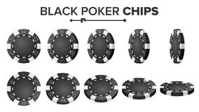 Tisonnier noir Chips Vector Ensemble réaliste Jeu de poker rond en plastique Chips Sign On White Flip Different Angles Images stock