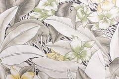 Tissu avec la texture et le fond de modèle de fleur Images libres de droits