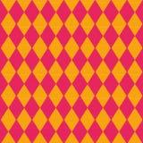Tissu avec le modèle rouge et jaune de diamant Images libres de droits