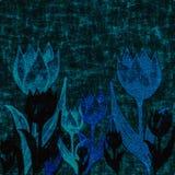 Tissu bleu profond d'ouatine avec des fleurs de tulipe illustration stock