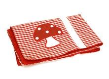 Tissu checkered rouge de pique-nique avec l'applique, d'isolement Image stock