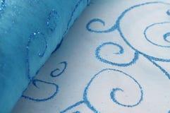 Tissu décoratif brillant bleu Photographie stock