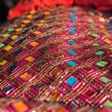 Tissu décoratif utilisé pendant les cérémonies indoues photo stock