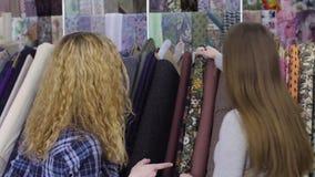 Tissu d'achat de deux jeunes femmes dans un magasin de tissu Sourire, parlant banque de vidéos