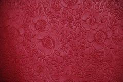 Tissu de cerise avec des conceptions florales Photographie stock libre de droits