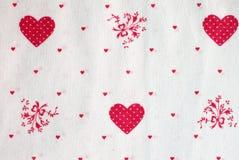 Tissu de coeurs Photo libre de droits