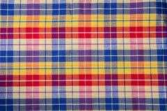 Tissu de coton de plaid de fond coloré et de texture abstraite Photo stock