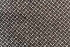 Tissu de noir de coton de plaid avec les rayures blanches et grises Photographie stock