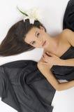 Tissu de noir de lis blanc Images stock