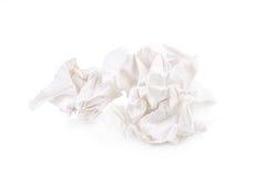 tissu de papier vissé utilisé d'isolement sur le fond blanc Image stock