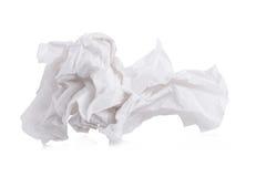 tissu de papier vissé utilisé d'isolement sur le fond blanc Photographie stock
