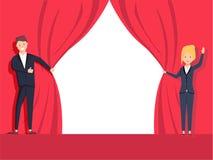 Tissu de rouge de corde de traction de mains d'homme d'affaires et de femme d'affaires Concept d'ouverture officielle Conception  illustration stock