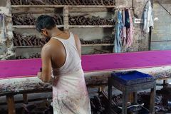 Tissu de Sari d'impression de bloc à Jaipur, Inde Photos libres de droits