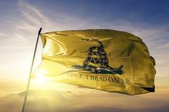 Tissu de tissu de textile de drapeau de Gadsden ondulant sur le brouillard supérieur de brume de lever de soleil illustration de vecteur