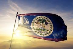 Tissu de tissu de textile de drapeau national de Belize ondulant sur le dessus illustration de vecteur