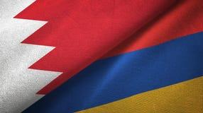 Tissu de textile de drapeaux du Bahrain et de l'Arménie deux, texture de tissu illustration stock