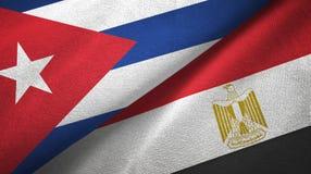 Tissu de textile de drapeaux du Cuba et de l'Egypte deux illustration de vecteur