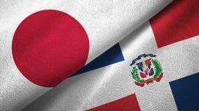 Tissu de textile de drapeaux du Japon et de la République Dominicaine deux, texture de tissu illustration stock