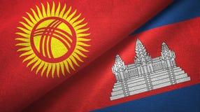 Tissu de textile de drapeaux du Kirghizistan et du Cambodge deux, texture de tissu illustration libre de droits