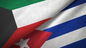 Tissu de textile de drapeaux du Kowéit et du Cuba deux, texture de tissu illustration libre de droits
