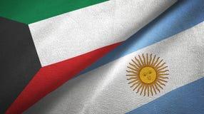 Tissu de textile de drapeaux du Kowéit et de l'Argentine deux, texture de tissu illustration de vecteur