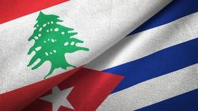 Tissu de textile de drapeaux du Liban et du Cuba deux, texture de tissu illustration libre de droits