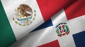 Tissu de textile de drapeaux du Mexique et de la République Dominicaine deux, texture de tissu illustration de vecteur