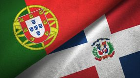 Tissu de textile de drapeaux du Portugal et de la République Dominicaine deux, texture de tissu illustration libre de droits