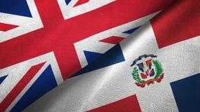 Tissu de textile de drapeaux du Royaume-Uni et de la République Dominicaine deux, texture de tissu illustration libre de droits
