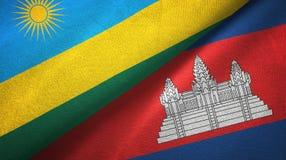 Tissu de textile de drapeaux du Rwanda et du Cambodge deux, texture de tissu illustration de vecteur