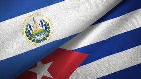 Tissu de textile de drapeaux du Salvador et du Cuba deux, texture de tissu illustration stock