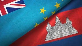 Tissu de textile de drapeaux du Tuvalu et du Cambodge deux, texture de tissu illustration de vecteur